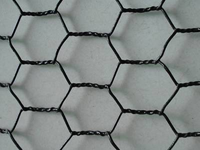 A piece of black PVC coated hexagonal wire netting