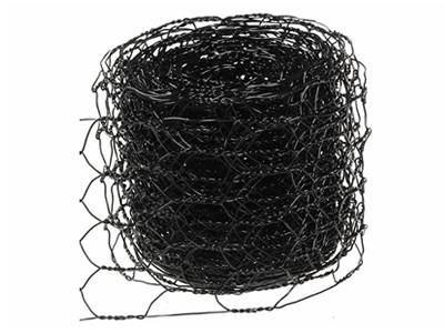 A roll of black vinyl coated chicken wire mesh.