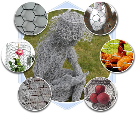 Nine types of chicken wire mesh application: gopher control, chicken fence, poultry fence, crafts, rockfall barrier, sculpture for plants.
