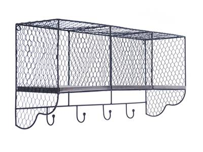 A purely chicken wire mesh made shelf with hooks.