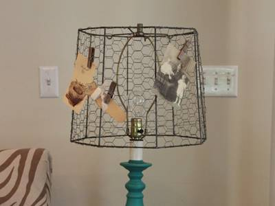Chicken wire mesh is used as a shade for table light sat in table.