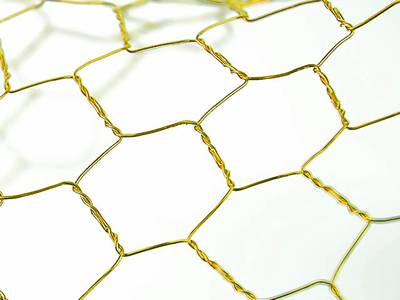 A piece of golden craft chicken wire