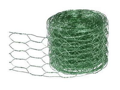 A roll of bright green color decorative chicken wire