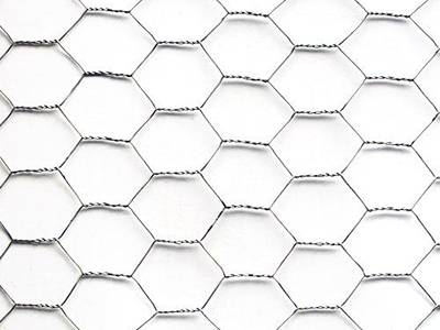A piece of galvanized hexagonal wire netting on the white background