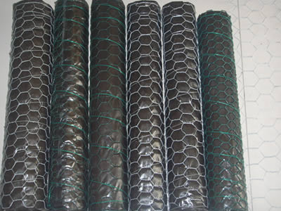 A roll of galvanized chicken wire and a roll of green PVC coated chicken wire