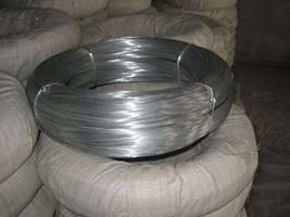 Galvanized wire coils with plastic film inside and white woven nylon outside package.