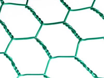 A piece of green PVC coated hexagonal wire mesh in reverse twist