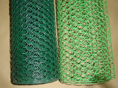 Two rolls of chicken wire mesh in green and light green colors.