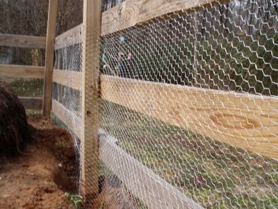 Rabbit fencing with wooden frame construction